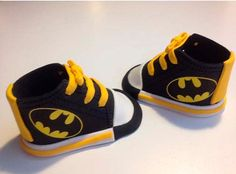 Cake topper > baby boy. Fondant Batman sneakers. Edible and utterly adorable!