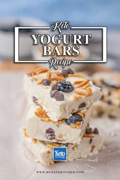 This Keto Blueberry Yogurt Bars recipe is a delicious frozen treat for warm weather. They are sugar-free, gluten free and a healthy low carb snack. These bars are loaded with almonds, chocolate chips, and MCTs to keep your fueled for longer. Enjoy them straight from the freezer. #keto #myketokitchen #frozenyogurt #sugarfree #ketosnacks Healthy Low Carb Snacks, Low Carb Sweets, Low Carb Desserts, Keto Snacks, Snack Recipes, Dessert Recipes, Keto Recipes, Healthy Desserts, Breakfast Recipes