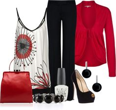 I LOVE black and red. LOVE the bag and tee. I want a more stylish pair of pants and jacket, though. More tailored, more details. Same colors, though.