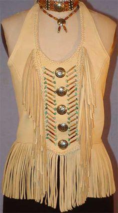 Native American Buckskin Clothing | ... Quest Halter tops Biker apparel deerskin & leather Rock clothing