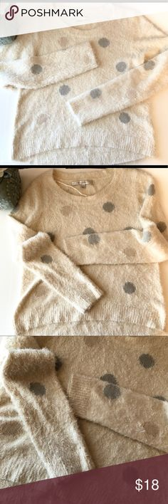 Lauren Conrad plush polka dot sweater Size Small, In great preowned Condition, no flaws. Ultra soft sweater. LC Lauren Conrad Sweaters Crew & Scoop Necks