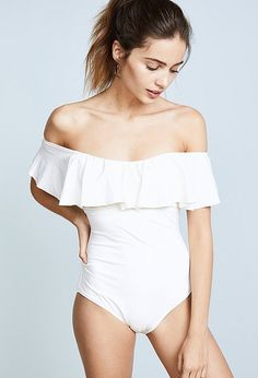 91535edf1ac7e White off the shoulder one piece swimsuit