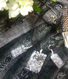 rectangular glass tile pendant and earrings - b pattern