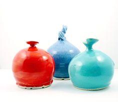 Salt holder -  ceramic  French Salt Pig - Salt Cellar  Salt Keeper with spoon - your choice of colors - Home chef gift. $49.00, via Etsy.
