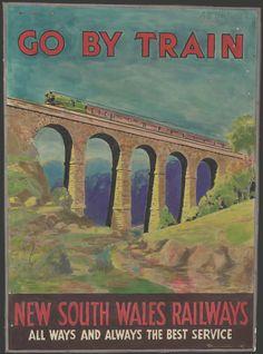 Railway travel posters and brochures - State Records NSW Train Posters, Railway Posters, Trains, Posters Australia, Australian Vintage, Beach Trip, Hawaii Beach, Oahu Hawaii, Vintage Hawaii