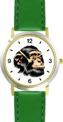Chimpanzee Head Great Ape Animal - WATCHBUDDY® DELUXE TWO-TONE THEME WATCH - Arabic Numbers - Green Leather Strap-Children's Size-Small ( Boy's Size & Girl's Size ) WatchBuddy. $49.95