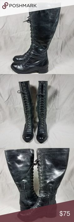 Cole Haan Combat Boots size 6.5B Cole Haan x Nike Air Collaboration sweater lined black leather knee high lace up combat style boots. Full lace up shaft with inner zipper for ease of use. Lined with ribbed sweater material, rounded toe and low block heel. Women's size 6.5 excellent condition. Calves measure 14-15 inches in circumference. Cole Haan Shoes Combat & Moto Boots