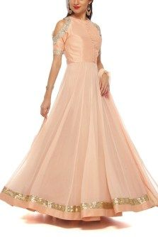 This Toasted Champagne Cold Shoulder Anarkali is for just Rs. 5790 #6YCollective #AnarkaliGown #Frugal2Fab