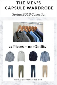 The Men's Spring 2018 Capsule Wardrobe! There is a step-by-step guide to create your own capsule wardrobe and a complete wardrobe plan included with 22 tops, bottoms, layers and shoes, plus accessories. There are 3 Regular Size and 2 Big Men Size shopping links for each item. There is also a capsule wardrobe checklist and a travel packing guide.