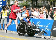 This is a real #life story of Rick Hoyt born 43 years ago in #Winchester, #Massachusetts. Somehow his umbilical cord became wrapped around his #neck, #leaving him brain-#damaged and unable to control his limbs. The #doctors told Rick's #parents that he would be a #vegetable for the rest of his #life. But Dick Hoyt, Rick's #father, didn't believe it. He noticed the way Rick's eyes followed him around the #room....