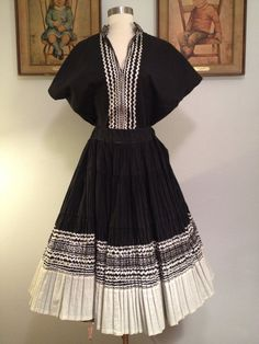 1950s LARGE SIZE Black and Silver 2 Piece Squaw by AwwwShucks, $65.00