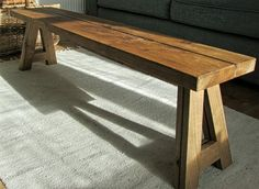 Oak trestle bench coffee table by KodamaJoinery on Etsy What can you imagine for a top. Get your juices going and use Rustic Living Legs for that extra special look.