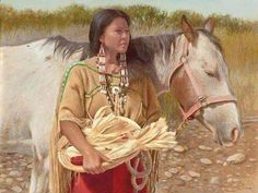 Native woman and horse