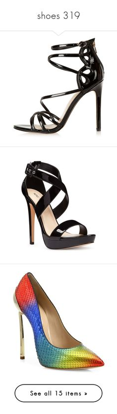 """""""shoes 319"""" by singlemom ❤ liked on Polyvore featuring shoes, sandals, heels, sale, high heel shoes, strappy heeled sandals, black high heel shoes, black sandals, strappy high heel sandals and black synthetic"""
