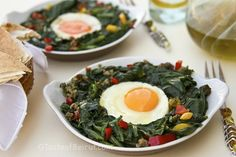 Eggs in spinach, runny egg yolks cure all ills.