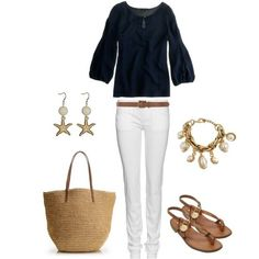 .simple black, white, nude/beige outfit. matching accessories just pulls the outfit together