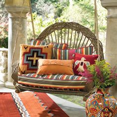 RUSTIC PORCH SWING Creating beautiful inspiring outdoor spaces- carpet and swing colors Diy Outdoor Furniture, Outdoor Rooms, Outdoor Living, Furniture Ideas, Wood Furniture, Willow Furniture, Garden Furniture, Gazebos, Southwestern Decorating