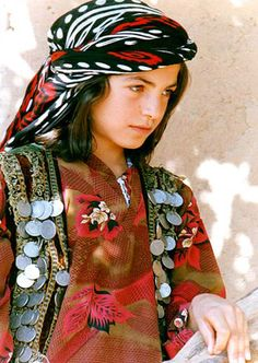 Portrait of a Kurdish girl in festive outfit.  In a village near Kağızman (Kars province), 2007.  (© Jan Sefti @ Kurdistan Photo Images).