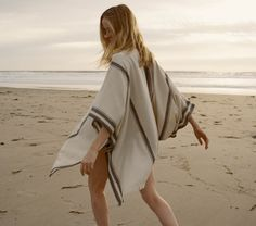 Doen Collective IDYLLWILD PONCHO :: Truffle Stripe