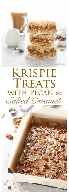 Salted Caramel Pecan Krispie Treats ~ soft, creamy, salty caramel & pecans wedged between layers of sweet vanilla scented Rice Krispie marshmallow squares.decadently sweet, utterly gooey, and totally tempting! Dessert Party, Oreo Dessert, Köstliche Desserts, Delicious Desserts, Dessert Recipes, Yummy Food, Rice Crispy Treats, Krispie Treats, Reis Krispies