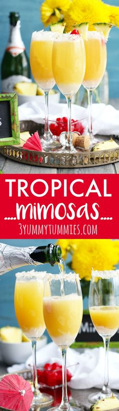 These Tropical Mimosas are the perfect brunch cocktail with pineapple and coconut . Brunch Drinks, Fun Cocktails, Summer Drinks, Fun Drinks, Alcoholic Beverages, Easy Drink Recipes, Best Cocktail Recipes, Punch Recipes, Cocktail And Mocktail