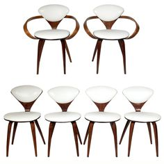 Set of Six Plycraft Dining Chairs Designed by Norman Cherner | See more antique and modern Dining Room Chairs at https://www.1stdibs.com/furniture/seating/dining-room-chairs