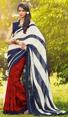 6bde46b3d0f0d G3 Fashions Designer Masaba Gupta Red Navy Cream Jutte Silk Party Wear  Printed Saree Product Code