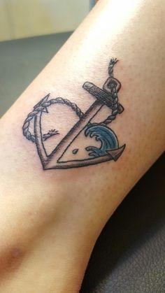 My tattoo!! Anchor heart wave