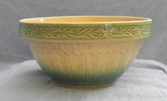 Small Yelloware Mixing Bowl with Green Bands NM McCoy