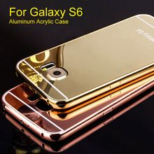 Aluminum Phone Case For Samsung Galaxy S6 Luxury Metal Frame Hard PC Back Mirror Cover case For Galaxy S6 with 4 colors