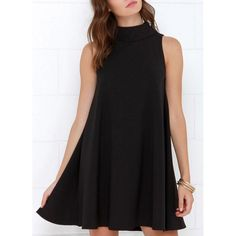 Casual Stand Collar Solid Color Ruffled Sleeveless Dress For Women