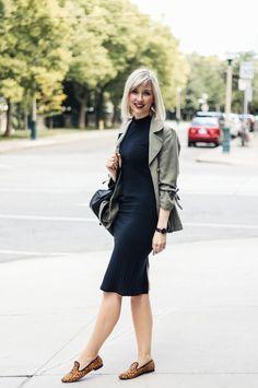 fitted dress with khaki blazer & leopard loafers 3 Navy Dress Outfits, Khaki Dress, Cute Outfits, Dresses, Autumn Winter Fashion, Autumn Fashion, Khaki Blazer, Leopard Loafers, Advanced Style