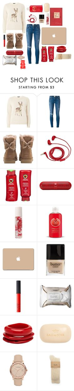 """""""Happy Holidays"""" by pumpkinseed112 ❤ liked on Polyvore featuring Dorothy Perkins, Frame Denim, UGG, FOSSIL, Herbal Essences, Beats by Dr. Dre, Forever 21, The Body Shop, 3M and Butter London"""