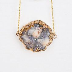 Lavender, white, and gold drusy necklace