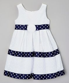 This White & Navy Flower Dress - Toddler by Rosenau Beck is perfect! #zulilyfinds