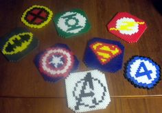Perler Bead Coasters Set of 3 by FromTheDragonsHoard on Etsy Melty Bead Patterns, Pearler Bead Patterns, Perler Patterns, Beading Patterns, Perler Beads, Perler Bead Art, Fuse Beads, Perler Coasters, Pixel Beads