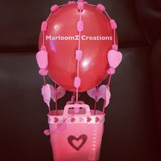 Valentine's Day Hot Air Balloon using supplies from Dollar Tree. Crafts