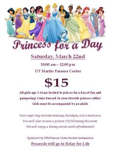 coordinated princess for a day event for relay for life fundraising