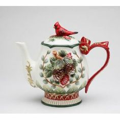 Christmas teapot - with cardinal