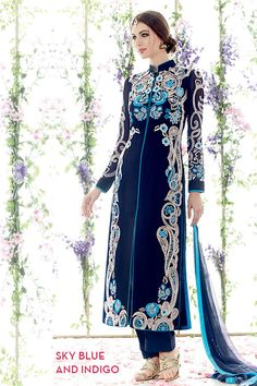 Buy Salesway Blue Georgette Dress Material by salesway, on Paytm, Price: Designer Salwar Kameez, Pakistani Salwar Kameez, Pakistani Suits, Churidar, Pakistani Dresses, Indian Dresses, Indian Outfits, Punjabi Suits, Salwar Dress
