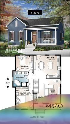 Jan 7 2020 One Story Economical Home With Open Floor Plan Kitchen With Island Small In 2020 House Plans Farmhouse Tiny House Floor Plans Open Floor Plan Kitchen