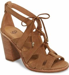 Lush suede straps and a stacked heel make this sandal an effortlessly sophisticated option for any occasion. Sock Shoes, Cute Shoes, Me Too Shoes, Bootie Sandals, Sandals Outfit, Ugg Sandals, Women Sandals, Ugg Boots, Shoe Boots