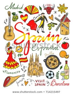 Hand drawn Spain symbols and illustrations. Vector set with visit Spain traveleng icons. Cute spanish drawings - compre este vetor na Shutterstock e encontre outras imagens.
