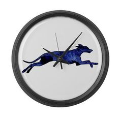 Greyhound Silhouette Fractal Large Wall Clock. My dream is to one day own a greyhound. Until then, I'll have to be happy with things like this clock. #dog #canine #greyhound #grayhound #clock #pet