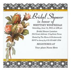 Tastefully Bridal Shower Black Flower Announcement Cards