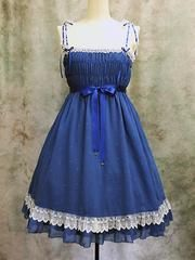 Crepe Embroidery Shirring Dress Blue x White Lace. See more at http://www.cdjapan.co.jp/apparel/mmm.html #gothic #lolita