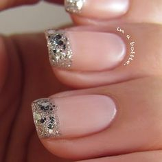 Pink nails with silver tips! OPI Crown Me Already and Essie Vanity Fairest