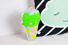 green ice cream rattle and cloud pillow by PinkNounou