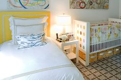 Quadrille, China Seas, Alan Campbell, Home Couture kids room headboard trim carpet yellow nursery crib tape