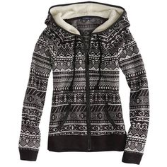 AE Fair Isle Polar Fleece Hoodie ($25) ❤ liked on Polyvore featuring tops, hoodies, jackets, outerwear, sweaters, charcoal, drawstring hoodie, zip front hoodies, charcoal hoodie and microfleece top